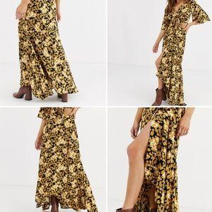 ASOS DESIGN Floral maxi wrap skirt